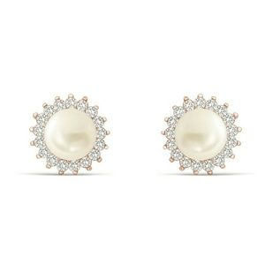 Rose Gold Plated 6mm freshwater pearl stud earring